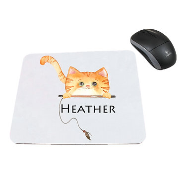 Personalized computer mouse pad with ginger cat image front view
