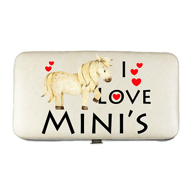 Ladies hard case purse wallet with mobile phone mount inside I love mini's pony horse image view