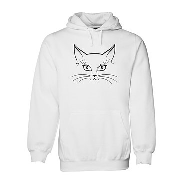 Hoodie jumper white with black cat face front view