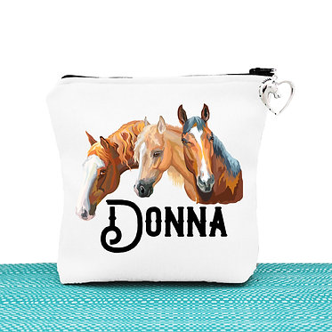 White cosmetic toiletry bag with zipper personalised three horses image front view