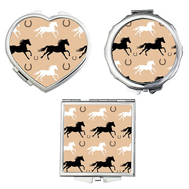 Compact mirrors in 3 shapes heart, round and square horse pattern image front view