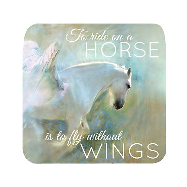 "Neoprene drink coaster with horse and quote ""to ride a horse is to fly without wings"" image front view"