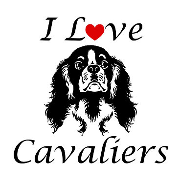 I love cavaliers dog decal sticker in black front view