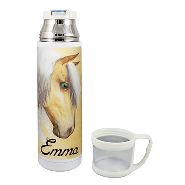 Personalised thermos flask drink travel bottle stainless steel palomino horse image lid off front view