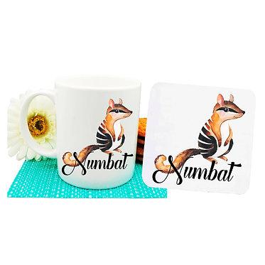 Ceramic coffee mug and drink coaster set Australian Numbat image front view