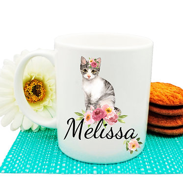 Ceramic coffee mug personalized cat with flowers with name image front view