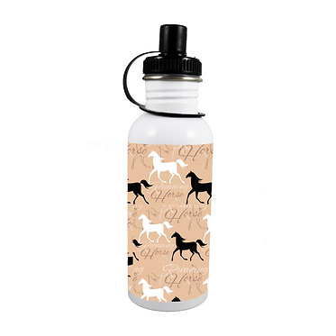 Stainless steel water bottle with running horse pattern image front view