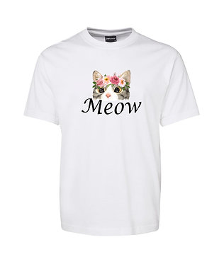 Adults t-shirt white 100% cotton with cat meow image front view