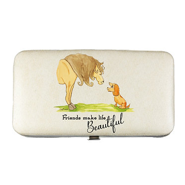 """Ladies hard case purse with mobile phone mount inside life beautiful"""" image view horse and dog with quote """"friends mak"""