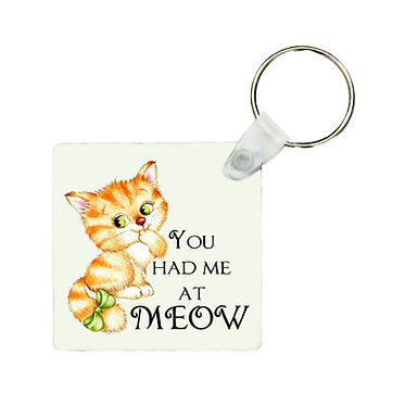 Square keyring cute kitty you had me at meow image front view
