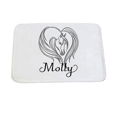 Personalised non-slip bath mat majestic horse black grey image front view