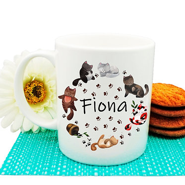 Ceramic coffee mug personalized circle of cats with name image front view