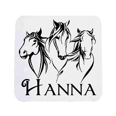Personalised neoprene drink coaster sets personalised three horses image front view