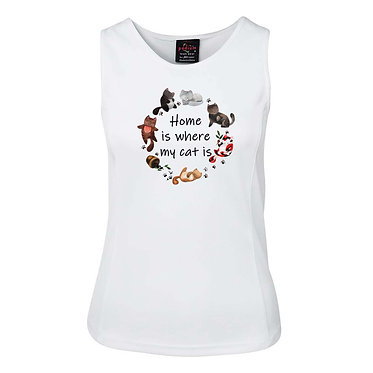 White ladies singlet top white with cats and quote home is where my cat is image front view