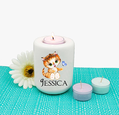 Personalized ceramic tealight candle holder cute kitty sitting image front view