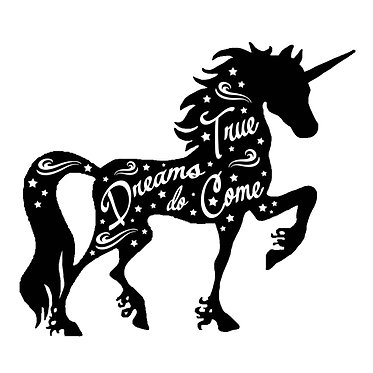 Unicorn vinyl decal sticker with quote dreams do come true in black front view