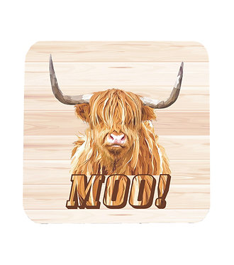Neoprene drink coaster with highland cow image and text moo! front view