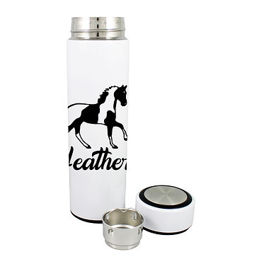 Personalised thermos flask drink travel bottle stainless steel paint horse image front lid off view