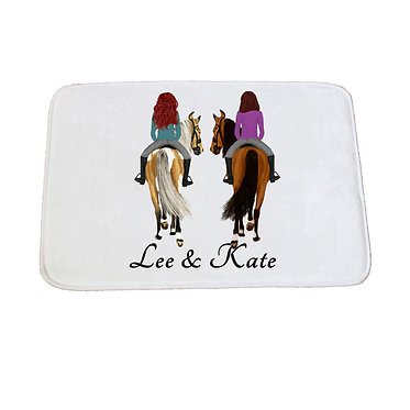 Personalised bath mat best friends horse riding image front view