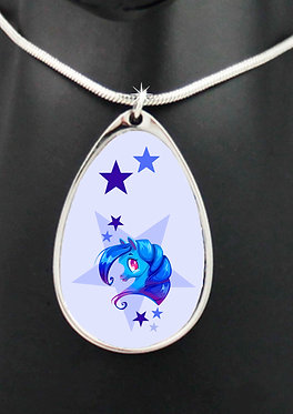 Blue pony with stars teardrop shape charm silver necklace closeup front view