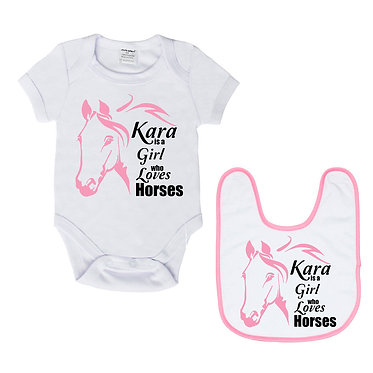 Personalised baby romper suit and matching bib gift set in white with soft pink a girl who loves horses image front view