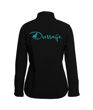 Ladies horse theme soft shell vest black with black accents and turquoise dressage image back view
