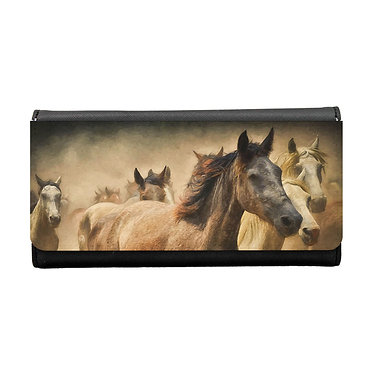 Ladies/girls purse wallet wild horses image front view