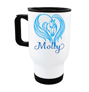 Personalised travel mug stainless steel majestic horse blue image front view