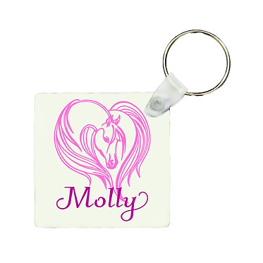 Square MDF wood key-ring majestic horse hot pink image front view