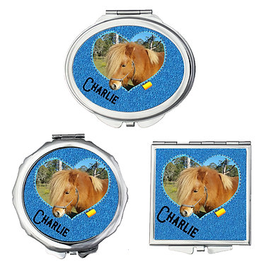 Set of three compact mirrors round, square, oval personalized with photo heart frame in denim front view