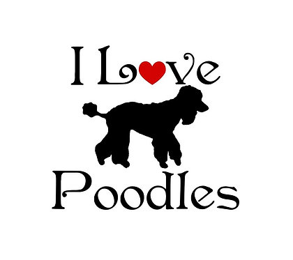 I love poodles decal sticker in black front view