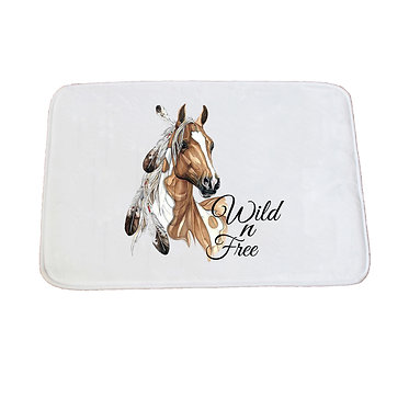 Non-slip bath mat white paint horse with feathers image front view