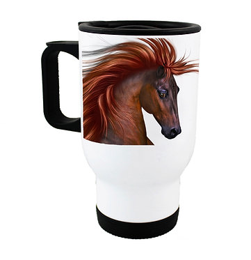 Travel mug stainless steel with chestnut horse with flowing main image front view