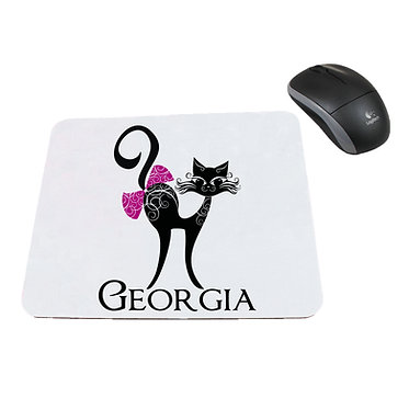 Personalized computer mouse pad with cat with bow image front view