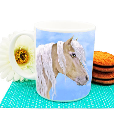Palomino horse ceramic coffee mug front view