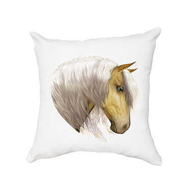 White cushion cover with zip palomino horse image front view