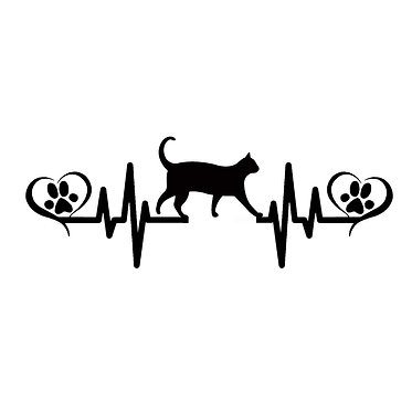 Cat vinyl decal sticker cat heart beat with paws and hearts front view
