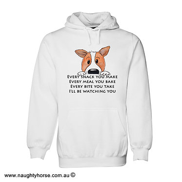 """Hoodie jumper white with cute dog image and quote """"every snack you make"""" front view"""