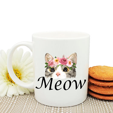 Ceramic coffee mug cat meow image front view
