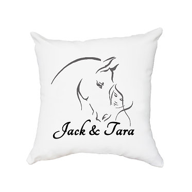 White personalised cushion with zip girl and horse together black grey image front view