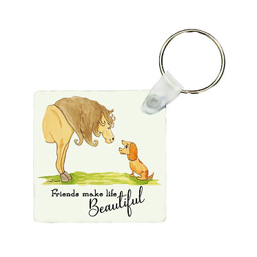 """Square MDF wood key-ring horse and dog with quote """"friends make life beautiful"""" image front view"""