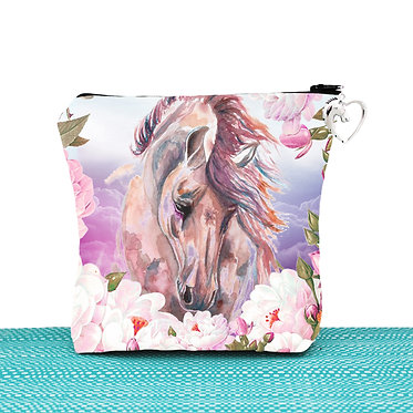 White cosmetic toiletry bag with zipper horse dreams image front view