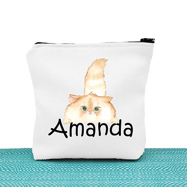 White cosmetic toiletry bag with zipper personalized with name and cute fluffy cat image front view