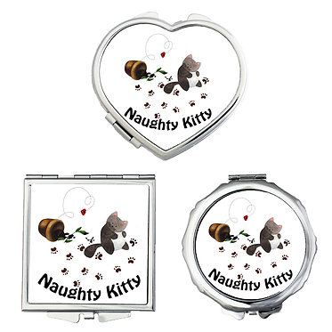 Compact mirrors round, square, heart shapes with naughty kitty image front view