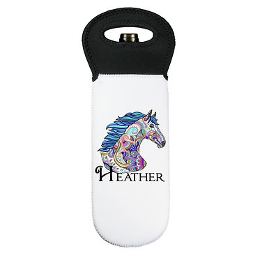Personalised wine cooler carry bag neoprene painted horse image front view