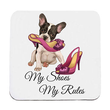 """Dog themed neoprene coaster sets with dog in shoe """"my shoes my rules"""" image front view"""