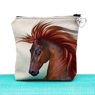 Tan cosmetic toiletry bag with zipper chestnut horse with flowing main image front view