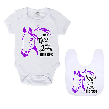 Baby romper play suit and matching bib gift set in white with purple I'm a girl who loves horses image front view