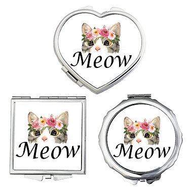Compact mirrors round, square, heart shapes with cat meow image front view