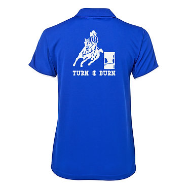 Ladies horse cool polo shirt royal blue white barrel racing horse turn and burn image back view